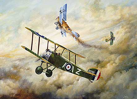Sopwith Camel of 43 Squadron clashing with Albatros DVs